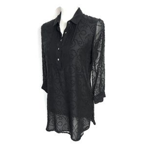 J McLaughlin Silk Top Black Embroidered